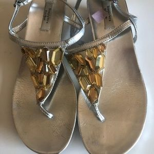 CLEARANCE: Simply Vera Wedge Sandals with Gems
